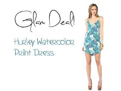 Glam Deal! Hurley Watercolor Print Dress