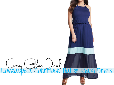 loveappella colorblock maxi halter dress summer spring 2013 trends plus size curvy full figured