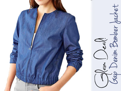 gap denim bomber jacket spring trends